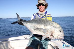 Gt Giant Treavlly Montebello Islands blue lightning fishing charters popping