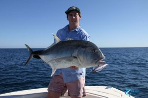 Giant Trevally GT popping WA best fishing Montebello Islands WA bluelightningcharters